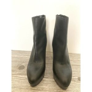 Black Leather High Heel Ankle Booties Zara Sz 8